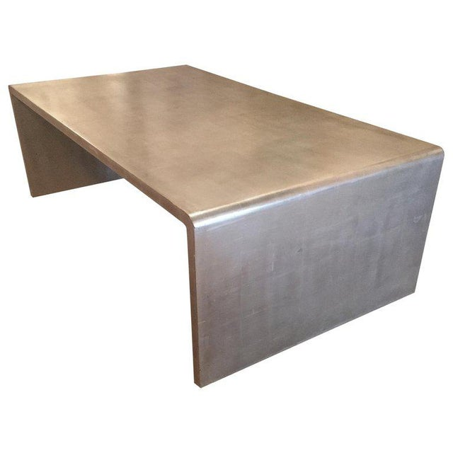 Waterfall Coffee Table With Silver Leaf Finish in the Style of Jean Michel Frank For Sale - Image 9 of 9