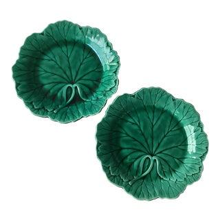 Wedgwood Majolica Green Leaf Plates, a Pair