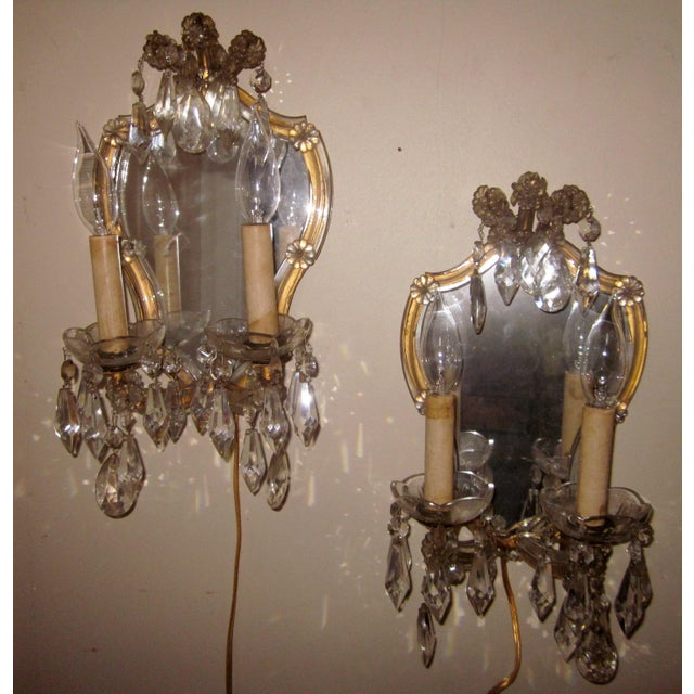 1920s French Louis XV Style Gilt Mirror and Glass Framed Sconces - a Pair For Sale - Image 13 of 13