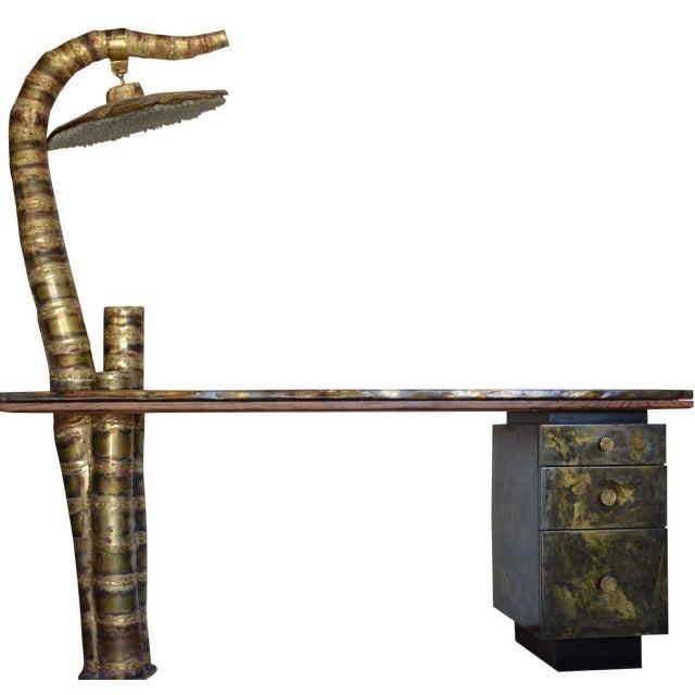 Scupltural Studio Brass Table Desk For Sale