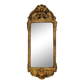 18th Century Antique Swedish Rococo Giltwood and Gesso Mirror For Sale