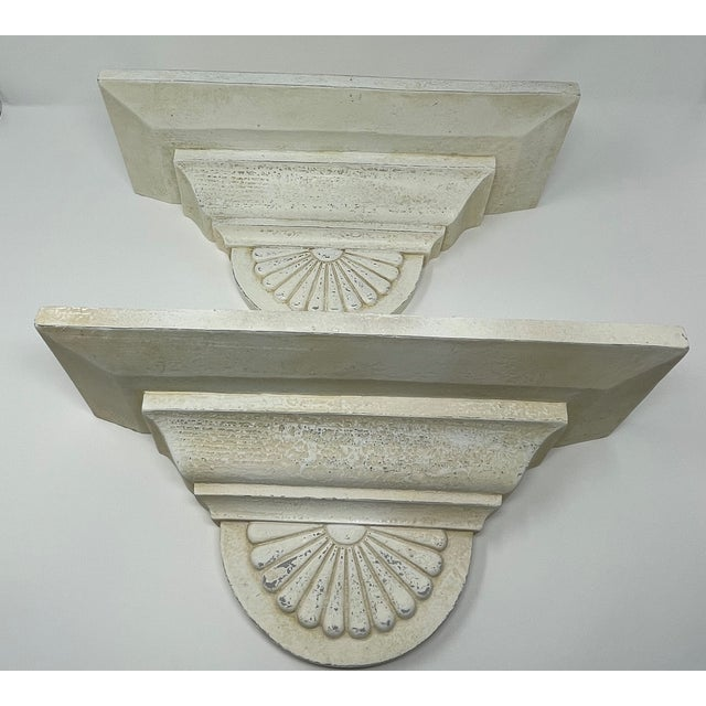 White Vintage Antique Style Architectural Hanging Wall Mount Shelves - a Pair For Sale - Image 8 of 8