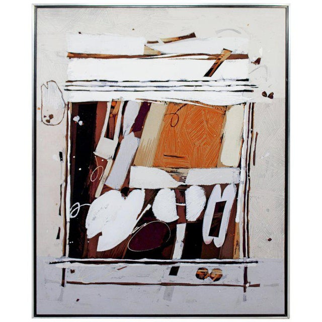 Orange Mid-Century Modern Ray Frost Fleming Abstract Acrylic on Canvas Painting Orange For Sale - Image 8 of 8