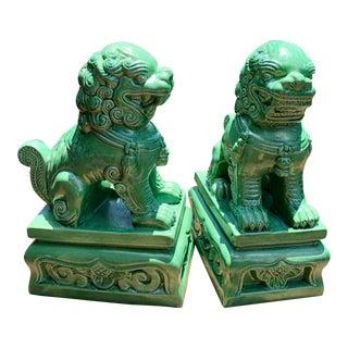 Ceramic Foo Dog Figurines - a Pair