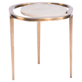 """Nesting Side Table """"Lily M"""" in Shagreen and Bronze Patina Brass by R&y Augousti For Sale"""