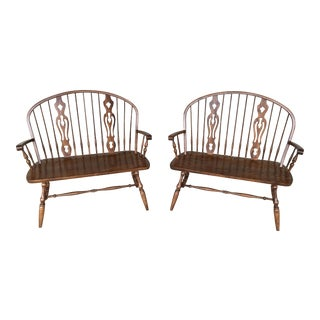 Dinaire Furniture Colonial Solid Oak Deacons Benches - a Pair For Sale