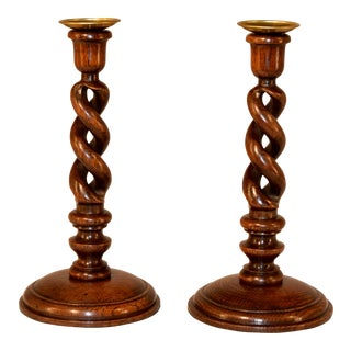 Pair of 19th C Open Barley Twist Candlesticks For Sale