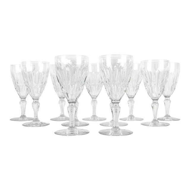Mid Century Baccarat Crystal Glasses - Set of 12 For Sale