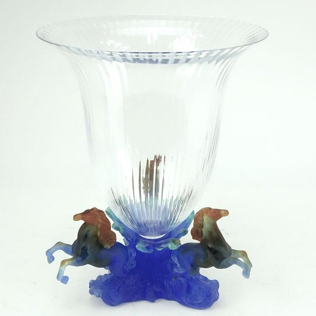 Daum Marly Blue Crystal & Pate De Verre Centerpiece Vase - Image 2 of 4