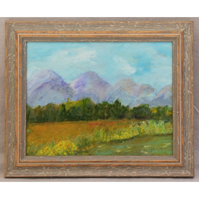 Framed Mountain Landscape Oil Painting - Image 3 of 9
