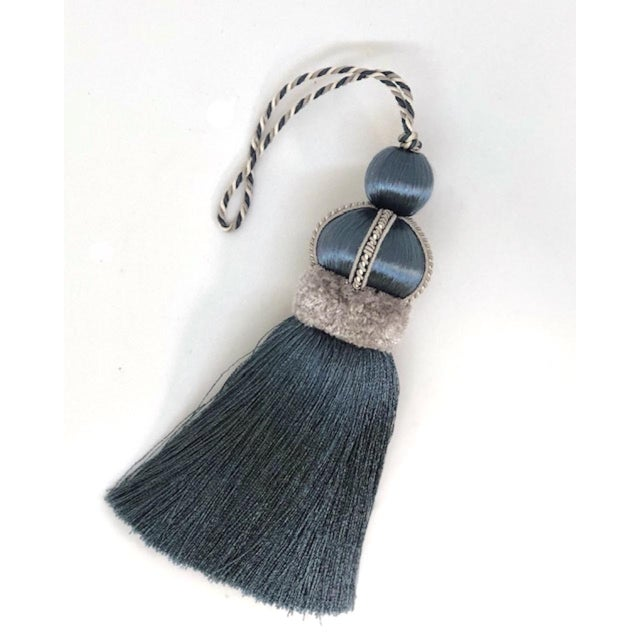 Blue Key Tassel With Cut Velvet Ruche For Sale - Image 9 of 11
