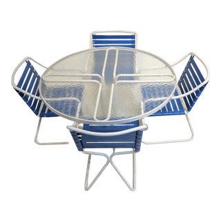 Mid Century Modern Brown Jordan Blue and White Kailua Patio Set of 5 For Sale