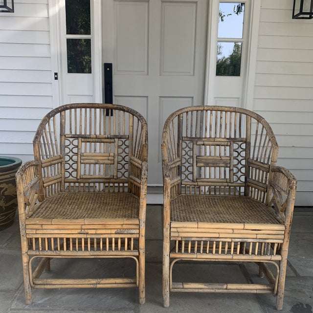 Pair of Vintage Bamboo Brighton Chairs