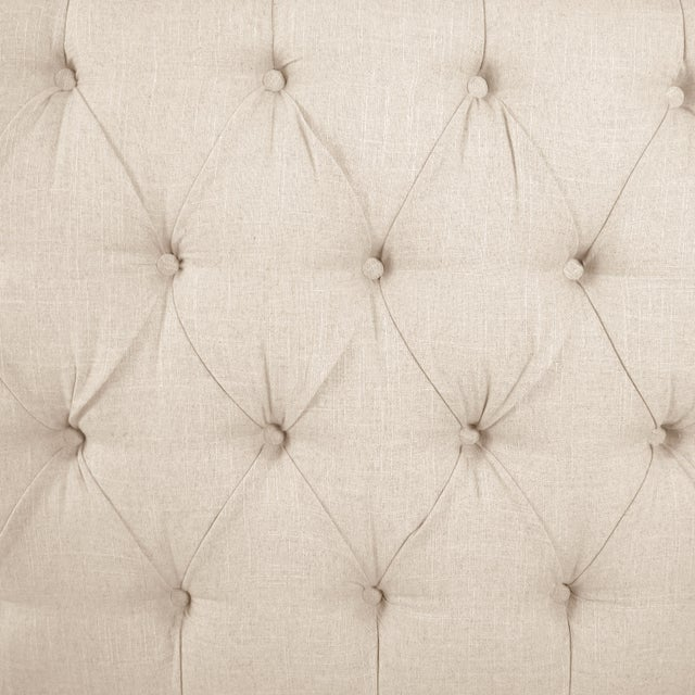 Contemporary Linen Talc Full Nail Button Tufted Wingback Bed For Sale - Image 3 of 8
