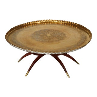 Large Moroccan Round Brass Tray Table on Folding Stand For Sale