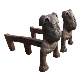 Early Bulldog Iron Andirons - a Pair For Sale
