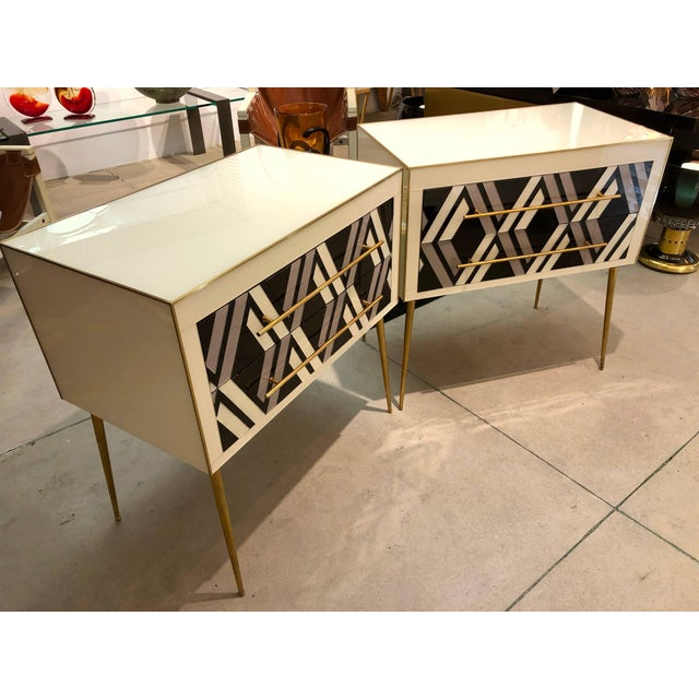 1990 Italian Graphic Pair of Geometric Black White Rose Gray Chests/ Side Tables For Sale - Image 4 of 9