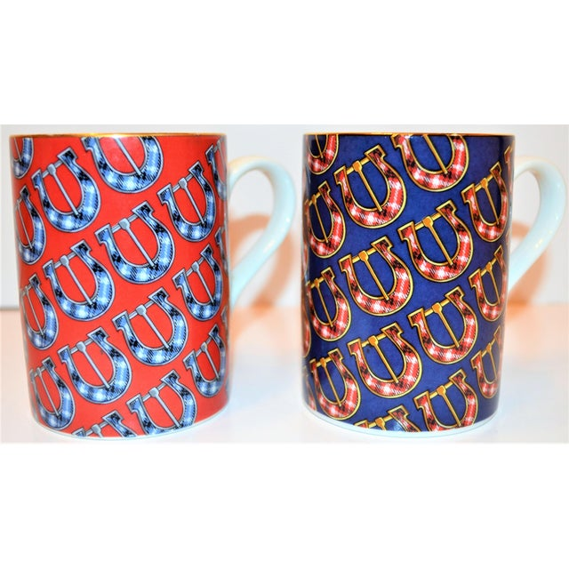 English Traditional Vintage Gucci Porcelain Mugs - a Pair For Sale - Image 3 of 9