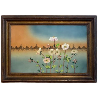 Viennese Secessionist Floral Painting on Porcelain For Sale