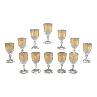 Set of 12 Val St. Lambert Handblown Crystal Cameo Goblets with Gold Roman Motifs For Sale