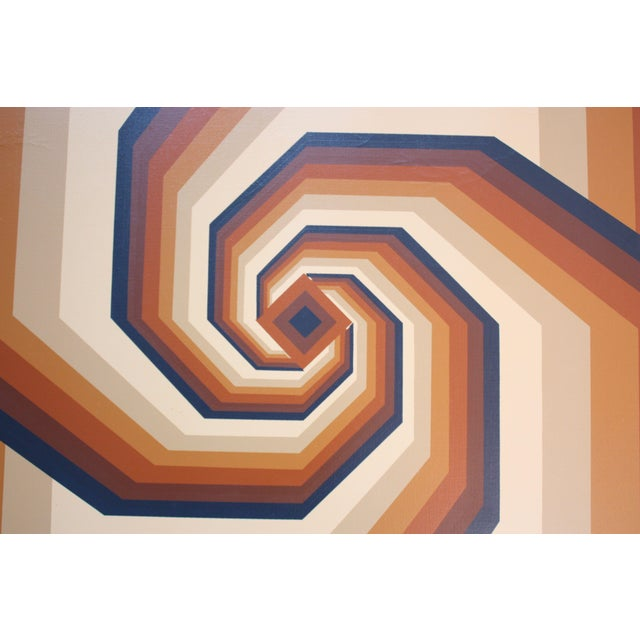 1980s Op Art oil on canvas with swirl motif. Signed 'Letterman' in lower right corner. Good, vintage condition with minor...