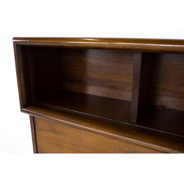 Wood United Mid Century Diamond Walnut Full Storage Headboard For Sale - Image 7 of 12