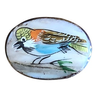 Antique Brass & Shell Pill Box With Hand Painted Bird For Sale