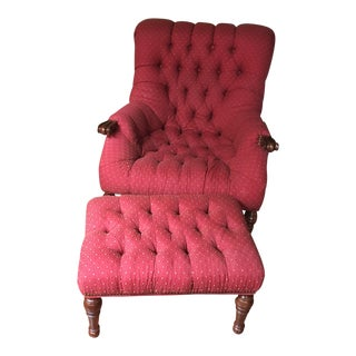 American Classical Macy's Stickley Leopold's Style Red Tufted Chair & Ottoman