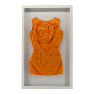 Vintage Cotton Bathing Suit in Shadow Box Frame For Sale
