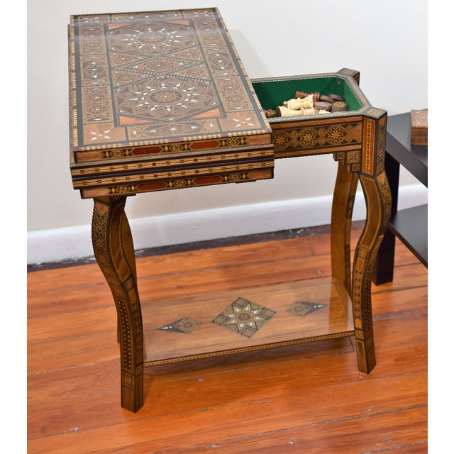 A Syrian Mother Of Pearl Bench Available To Purchase At: Syrian Wooden Multi-Game Side Table