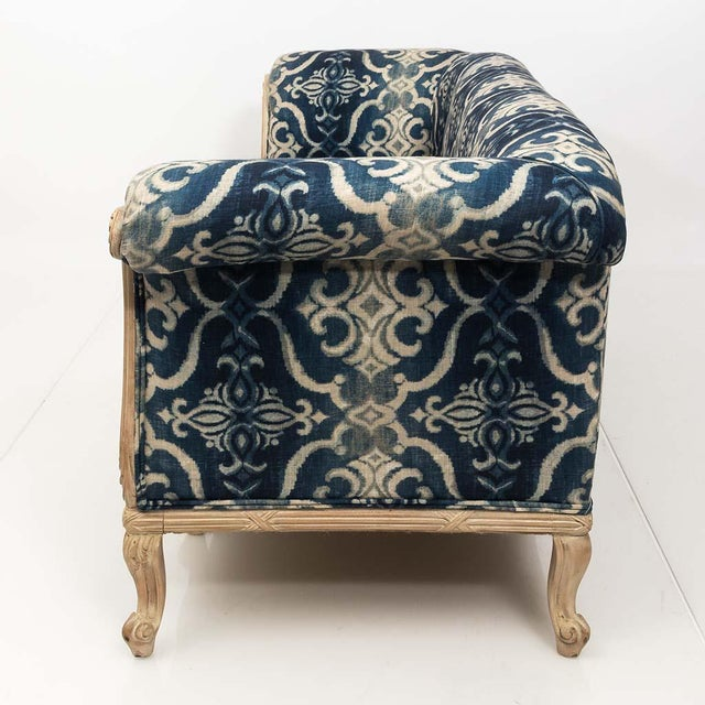 Antique French Chesterfield Sofa in Indigo Ikat Print Linen For Sale - Image 12 of 13