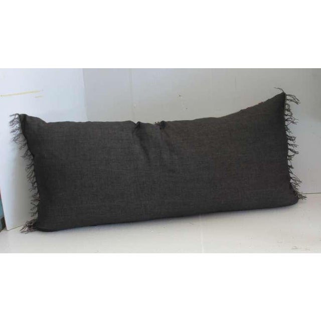 Primitive Grey Ground Mexican Serape Bolster Pillow For Sale - Image 3 of 4