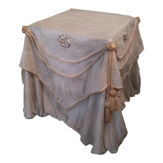 "1960s Hollywood Regency John Dickinson Style "" Drape "" Shape Plaster Side Table For Sale"