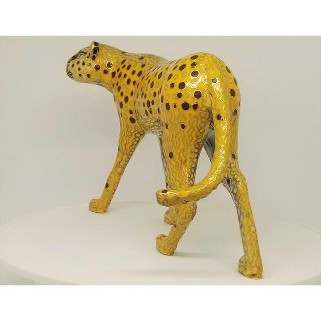 Cheetah - Vintage Cloisonne Enamel and Brass Sculpture - Mid Century Modern Palm Beach Boho Chic Animal Tropical Coastal For Sale - Image 4 of 12