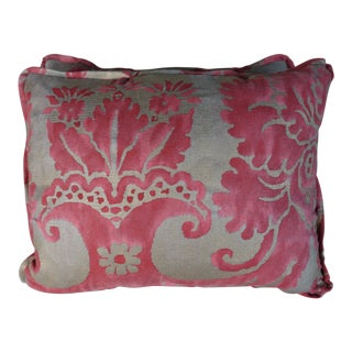 Pink & Silvery Gray Fortuny Pillows, Pair