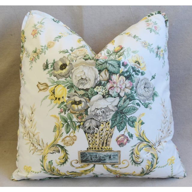 "Early 21st Century Schumacher Floral Airlie Bouquet & Chenille Feather/Down Pillows 21"" Square - Pair For Sale - Image 5 of 13"