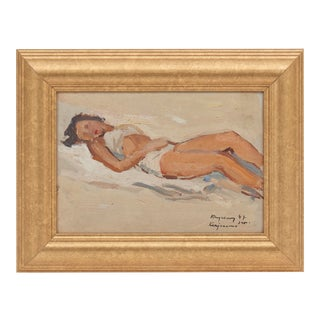 Framed 'Ocean Lounging Bather' by Vasyl Krychevsky