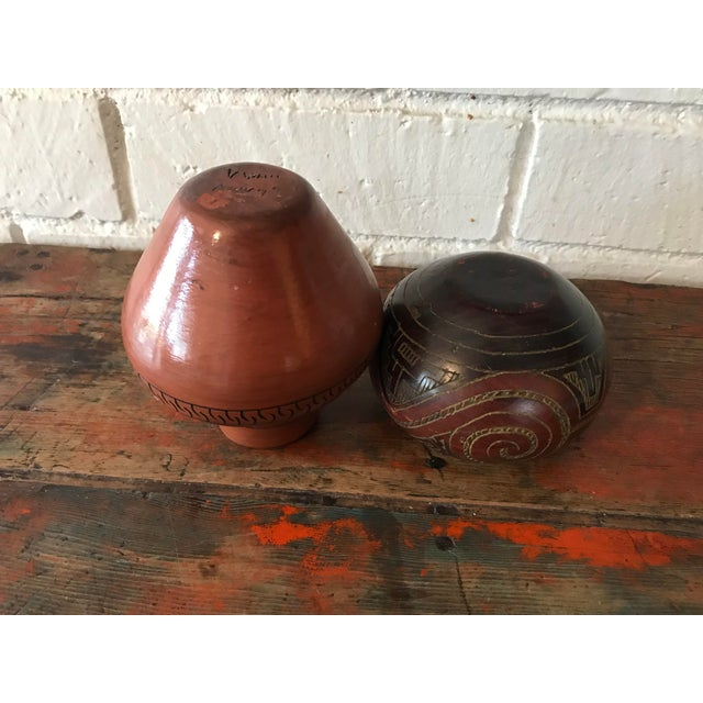 Navajo Brown Pottery Vases - a Pair For Sale In Los Angeles - Image 6 of 10