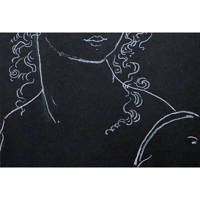 "Sarah Myers ""Woman Crowned With Leaves"" White Charcoal Drawing For Sale In Kansas City - Image 6 of 8"