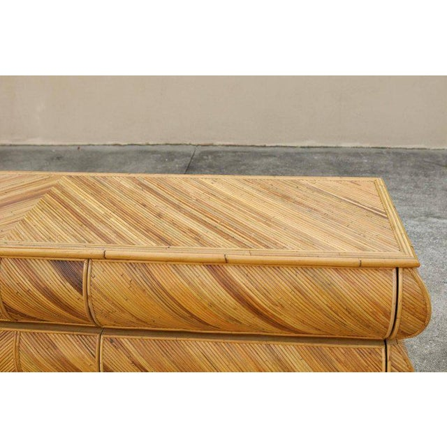 Magnificent Restored Bullnose Nine-Drawer Chest in Bamboo For Sale - Image 4 of 11