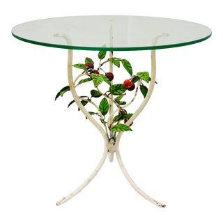 Antique Italian Cherries Tole Table For Sale