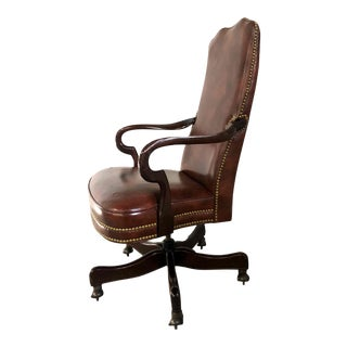 Vintage Hancock & Moore Kensington Gooseneck Swivel-Tilt Chair in Brown Leather For Sale