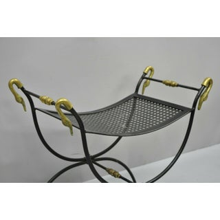 Vintage Mid Century Wrought Iron & Brass Classical Swan Bench Preview