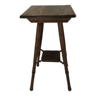 Antique Oak Turned Leg Lamp Table For Sale