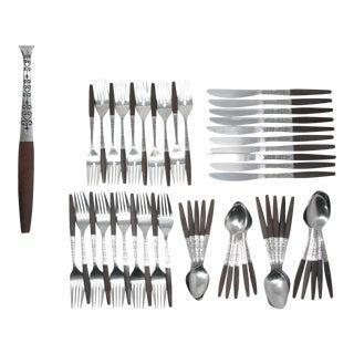 Vintage Danish Modern Stainless Steel & Wood Flatware by Interpur Set B – 10 Place Settings Plus For Sale