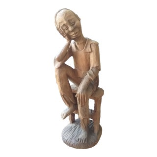 Cuban Carved Wooden Man For Sale