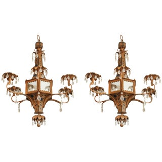 Pagoda Form Tole Chandeliers - a Pair