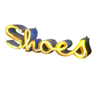 "Steel and Neon ""Shoes"" Wall Display Sign For Sale"