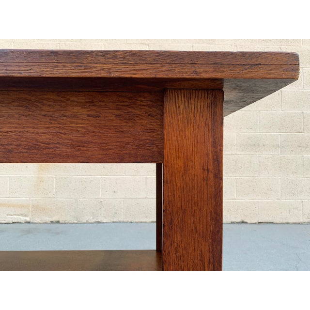 Antique American Craftsman Library/ Work Table, Solid Oak For Sale In Los Angeles - Image 6 of 10