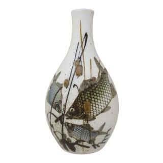 1970s Vintage Nils Thorsson Denmark Diana Series Royal Copenhagen Fish Vase For Sale
